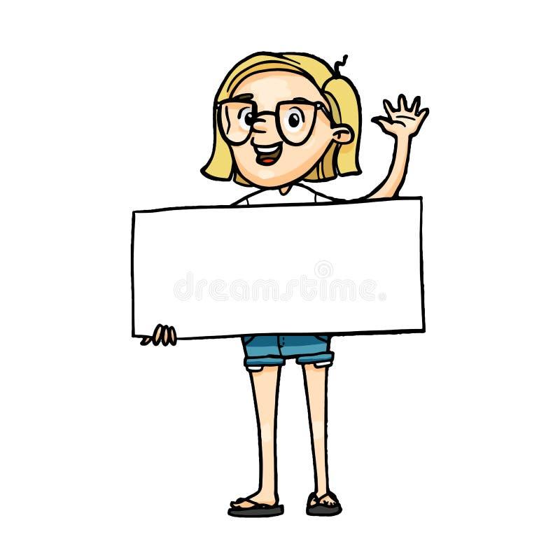 招呼微笑的动画片的女孩拿着一个空白的委员会和 传染媒介隔绝了与空的白色横幅的手拉的字符inscript的 库存例证