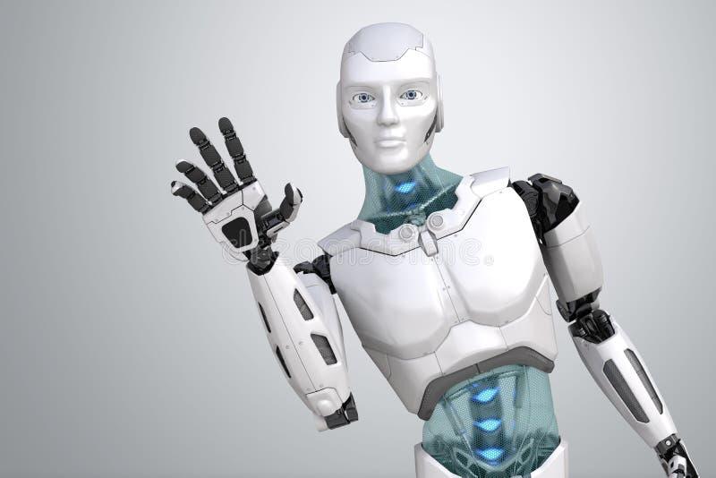 招呼机器人摇他的手 向量例证