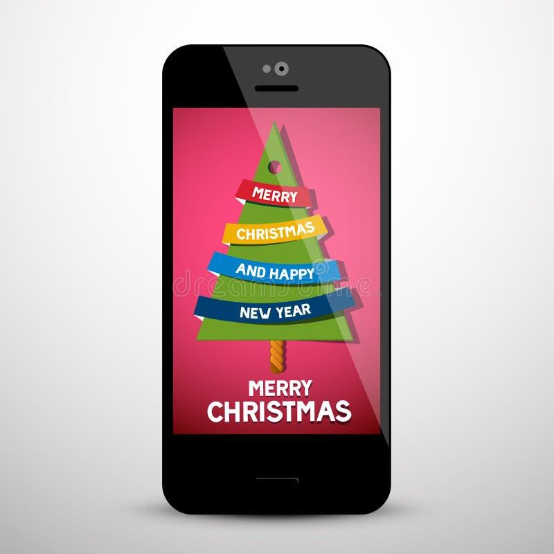招呼的圣诞快乐与Xmas树的消息 库存例证