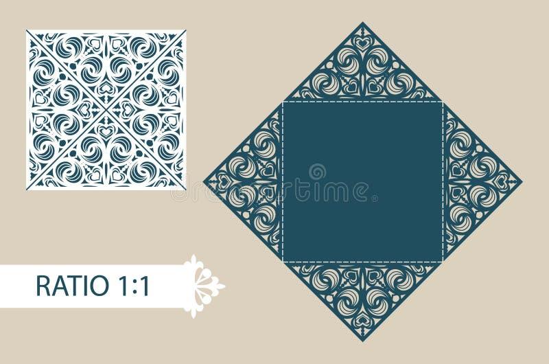 招呼的模板方形的折叠的卡片,邀请,菜单, 皇族释放例证