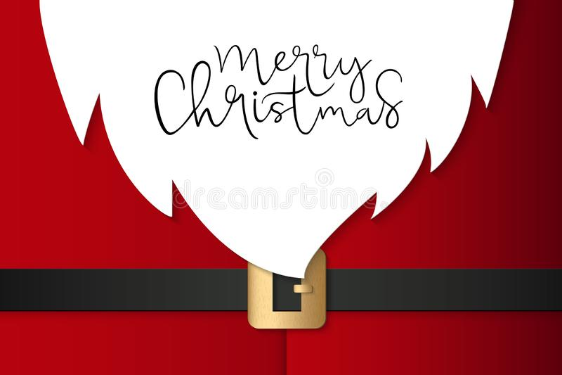招呼的横幅模板的传染媒介例证与手字法标签-圣诞快乐的-与纸圣诞老人随员 向量例证