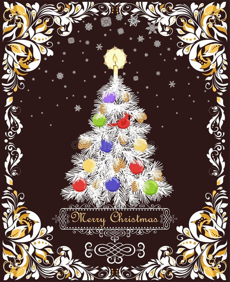 招呼葡萄酒与纸被删去的圣诞树的Xmas卡片与锥体,蜡烛,球,垂悬的北主要红色鸟玩具,pap 库存例证
