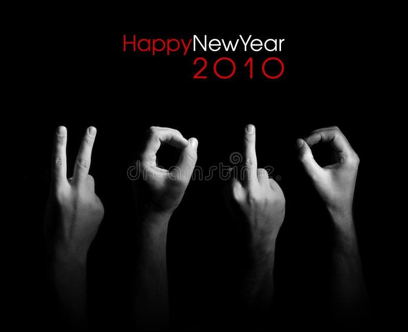 招呼2010个看板卡的手指 库存照片