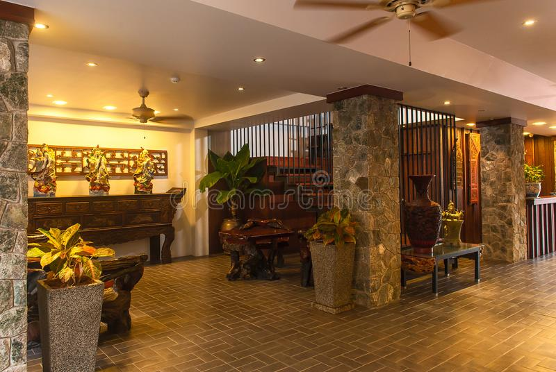 招待会和泰国旅馆游泳池  免版税图库摄影