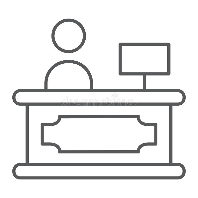 招待会稀薄的线象,旅馆和电话,总台标志,向量图形,在白色背景的一个线性样式 皇族释放例证