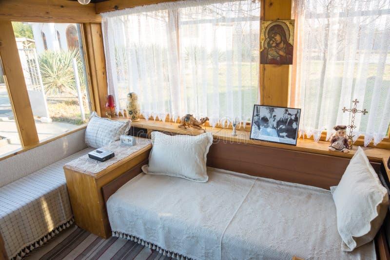 招待室在Vanga房子里在Rupite,保加利亚 库存图片