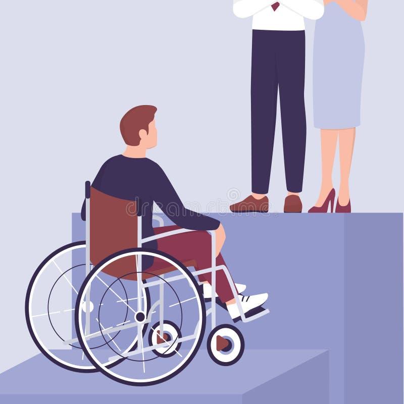 招聘可行性概念 年轻残疾商人 向量例证