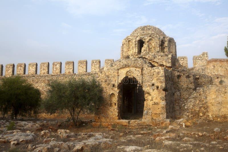 拜占庭式的教会废墟 免版税库存图片
