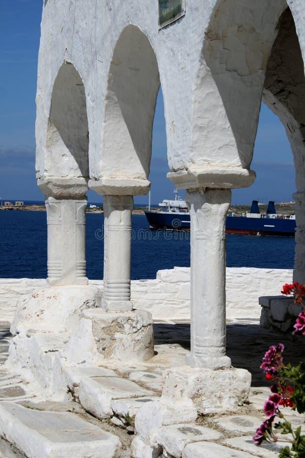 拜占庭式的教会详细资料希腊海岛paros 库存图片