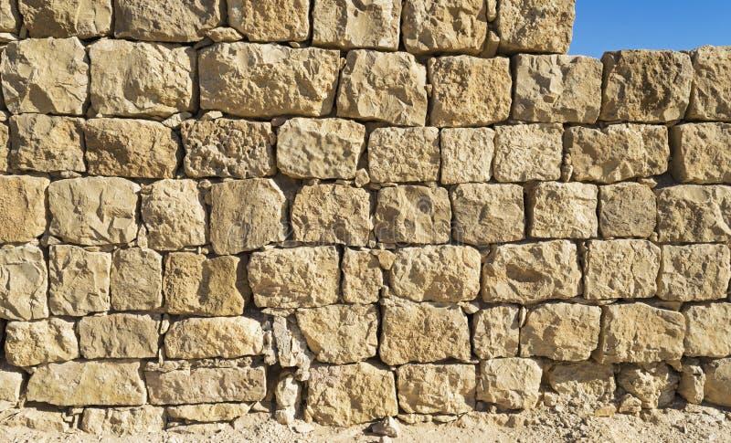 拜占庭式的时代城市墙壁的细节在Shivta的在以色列 库存图片