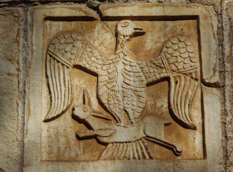 拜占庭式的石制品,小的大都会教会,雅典,希腊细节  免版税库存照片