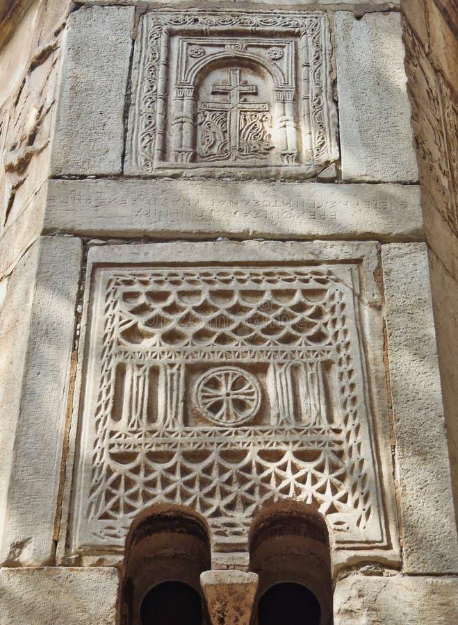 拜占庭式的石制品,小的大都会教会,雅典,希腊细节  免版税图库摄影