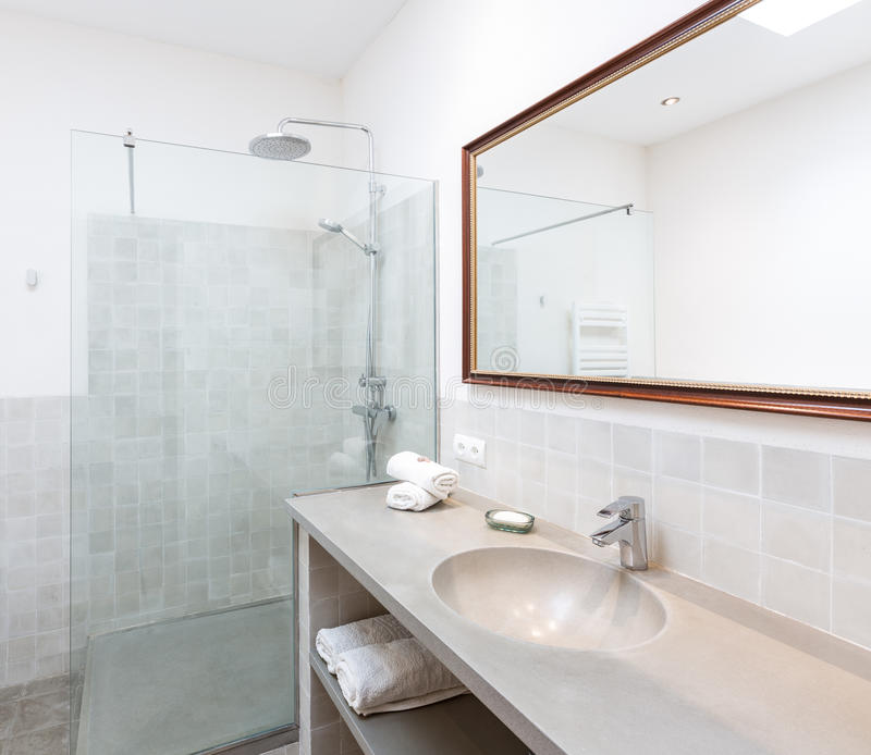拜雷阿尔斯地中海样式的马略卡拜雷阿尔斯室内房子 库存图片