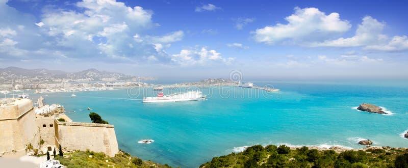 拜雷阿尔斯城堡ibiza海岛全景 免版税库存照片