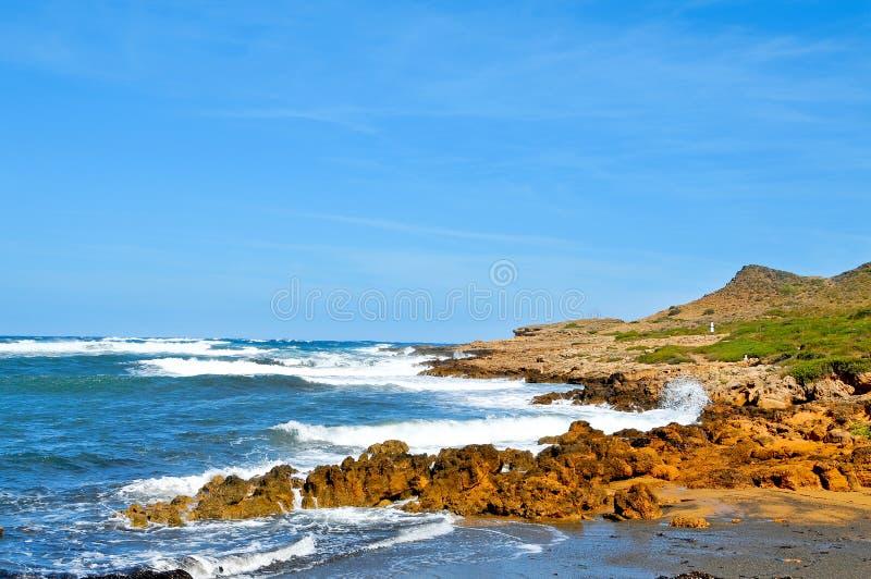 拜雷阿尔斯海滩binimela海岛menorca西班牙 免版税图库摄影