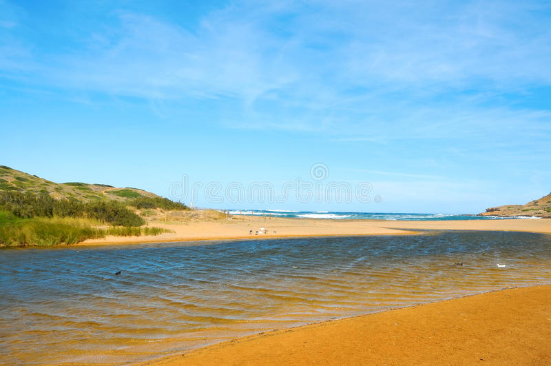 拜雷阿尔斯海滩binimela海岛menorca西班牙 免版税库存图片