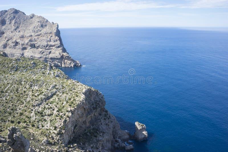 拜雷阿尔斯,峭壁在Formentor,在Mal北部海岛的区域  免版税图库摄影