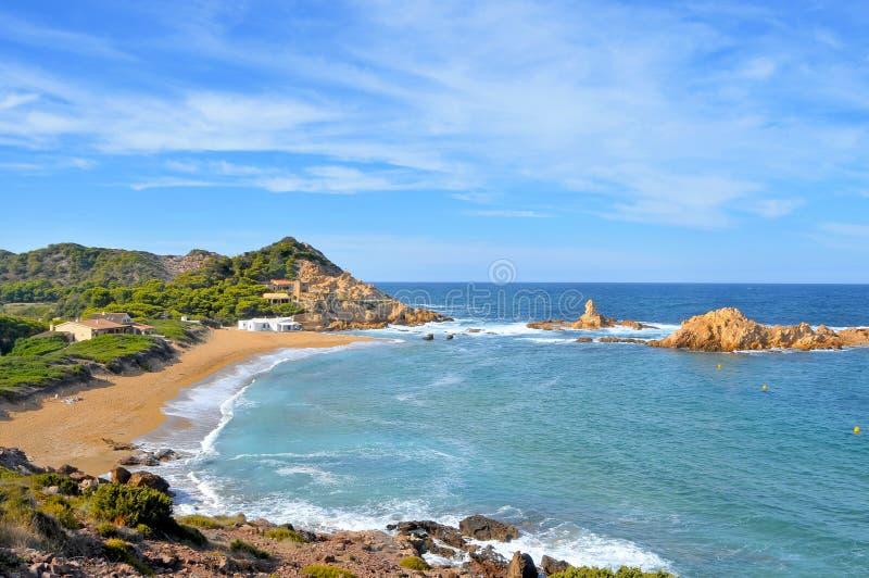拜雷阿尔斯cala海岛menorca pregonda西班牙 库存照片