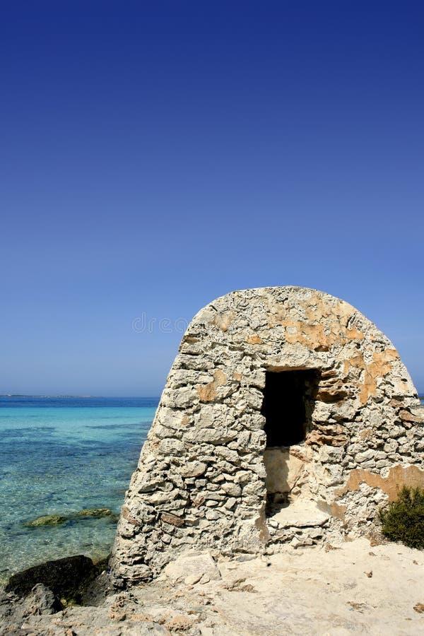 拜雷阿尔斯formentera地中海绿松石 免版税图库摄影