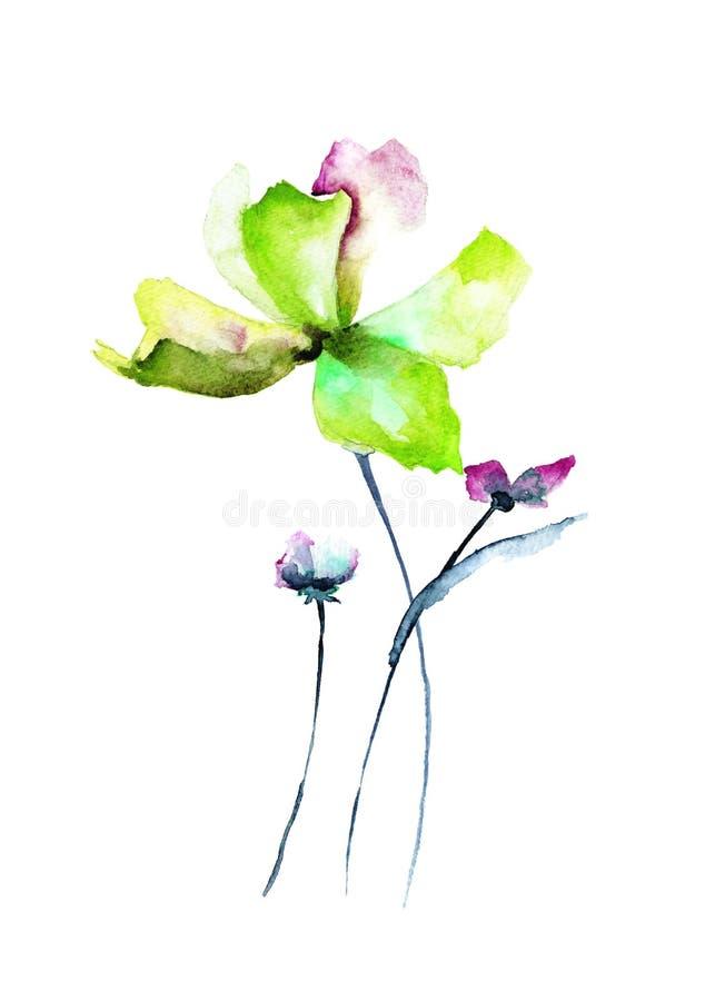 拟订与美丽的花的模板,水彩例证 向量例证