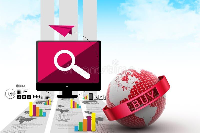 拟订商务计算机概念赊帐e现有量关键董事会 库存例证