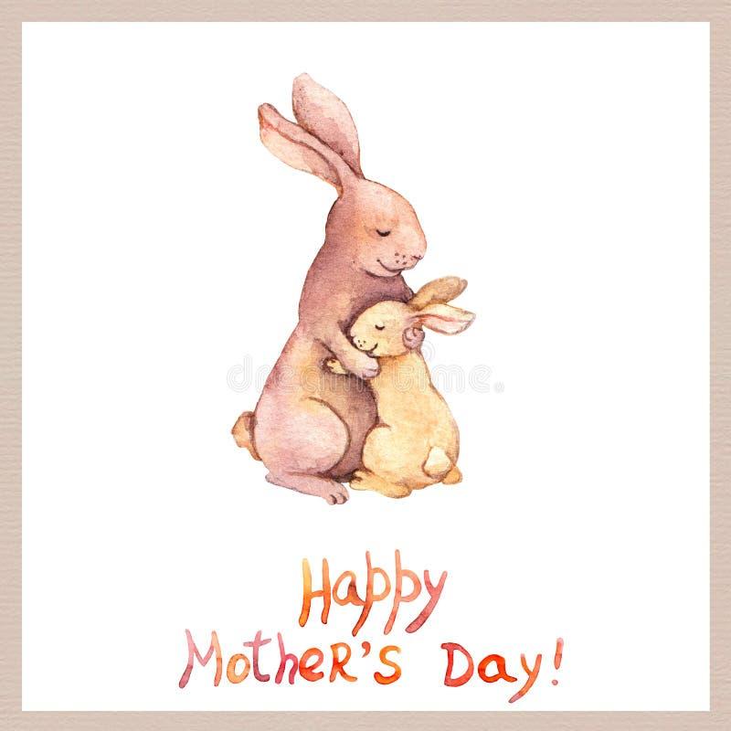 拟订在与逗人喜爱的动物的母亲节-照顾兔子拥抱她可爱的孩子 水彩画艺术 库存例证
