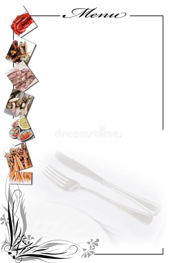 拟订菜单海鲜白色 库存图片