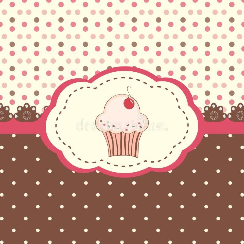 拟订菜单用杯形蛋糕和圆点背景 皇族释放例证