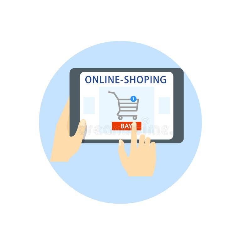 拟订dof重点现有量在线浅购物非常 手拿着一种片剂,小配件,买家选择网上物品 在购买按钮的手指 向量 皇族释放例证