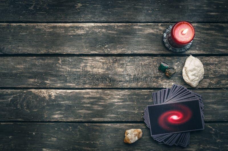 拟订tarot 未来读书概念 占卜 库存照片