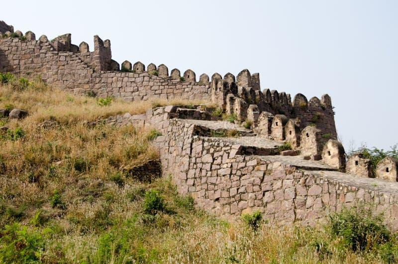城垛, Golcanda堡垒 库存照片
