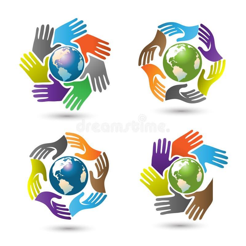 围拢地球传染媒介的手 向量例证