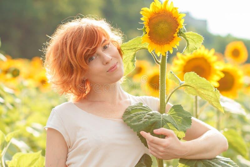 拥抱一个高向日葵的红发女孩在日落,年轻redhea 免版税图库摄影