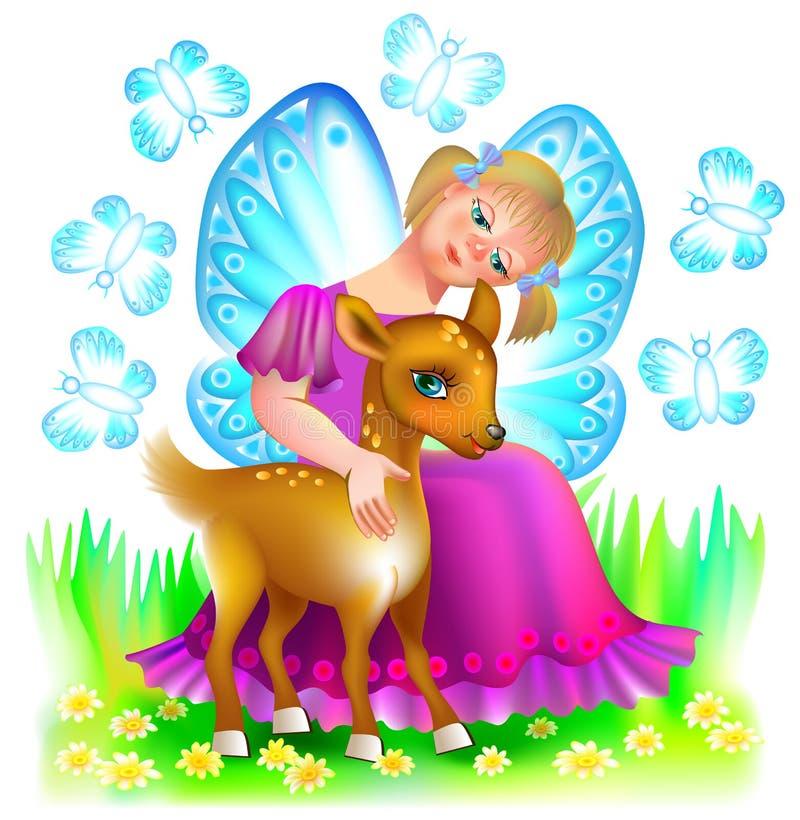 拥抱一只逗人喜爱的小鹿的小神仙的例证