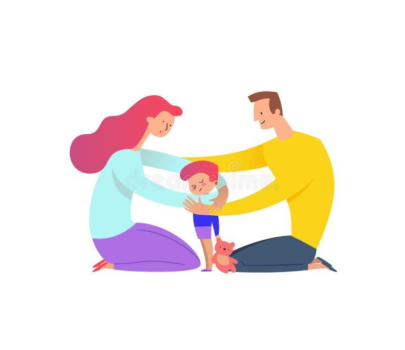 拥抱与他们的儿子的母亲和父亲 拥抱他们的孩子男孩的父母拿着玩具熊 家庭爱的概念和 皇族释放例证