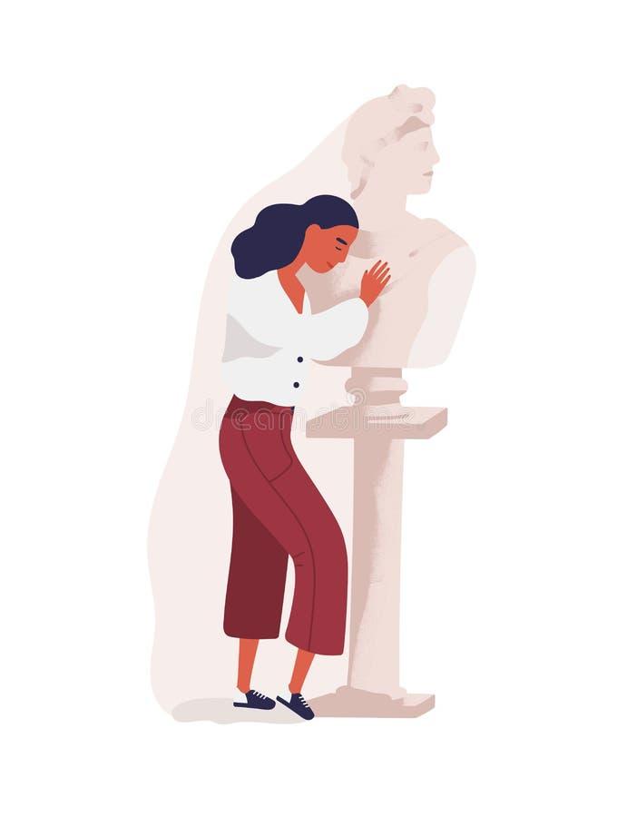 拥抱人的雕象年轻女人 情感地遥远的伙伴,无报答或者片面的爱的理想化的概念 皇族释放例证