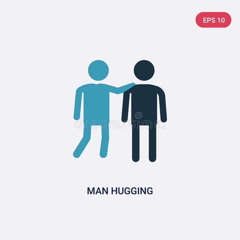 拥抱从人概念的两种颜色的人传染媒介象 拥抱传染媒介标志标志的被隔绝的蓝色人可以是网的用途,流动和 皇族释放例证