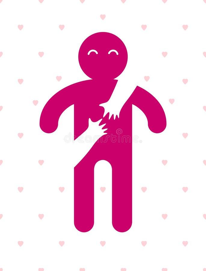 拥抱他的恋人妇女的心爱的小心人手从后面,传染媒介象商标或例证在单纯化 皇族释放例证
