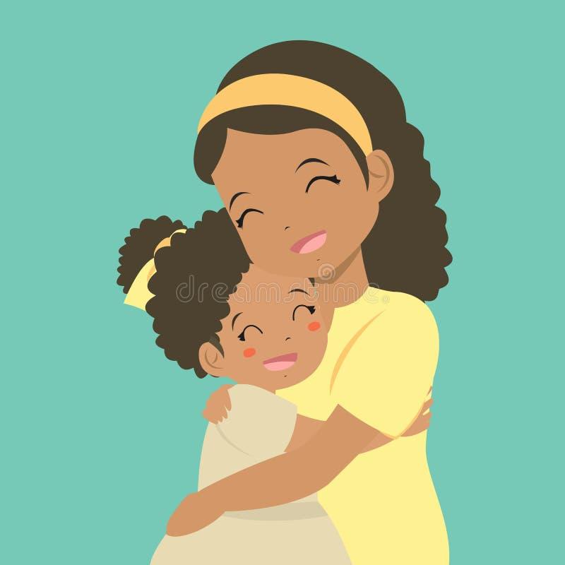 拥抱传染媒介的妈妈和女儿 皇族释放例证