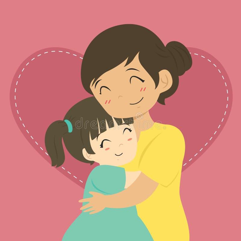 拥抱动画片传染媒介的母亲和女儿 向量例证