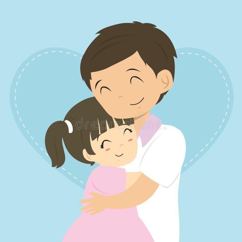 手绘团聚拥抱插画 85614 感恩节系列卡通手绘q版父亲跟孩子 49617图片