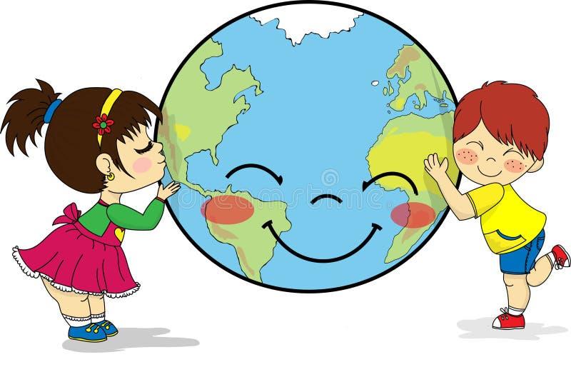 拥抱和亲吻微笑的行星地球的孩子 库存例证