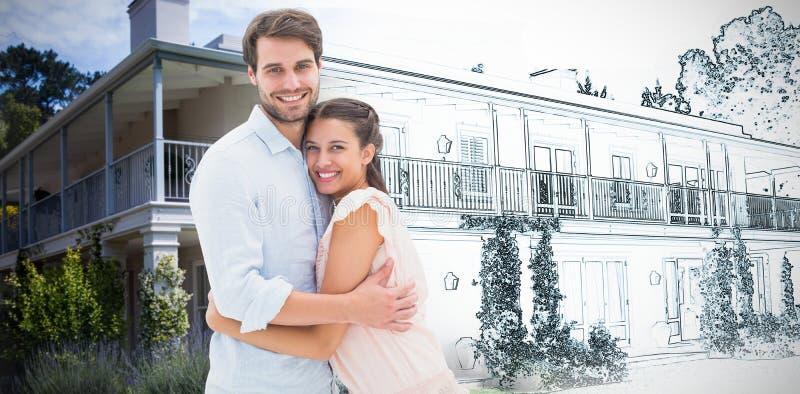 拥抱和微笑对照相机的有吸引力的年轻夫妇的综合图象 免版税库存图片