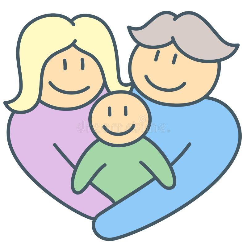 拥抱和握在家庭联合的父母和孩子手 库存例证