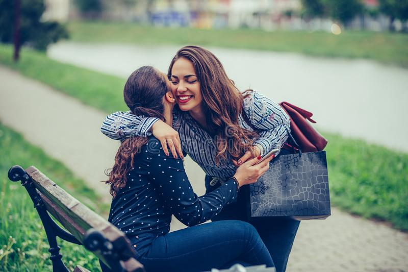 拥抱在公园的两个女性朋友愉快的会议  库存图片