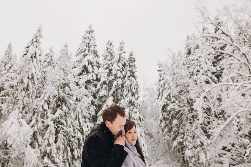 拥抱在冬天多雪的山的时髦的夫妇 愉快romant 图库摄影