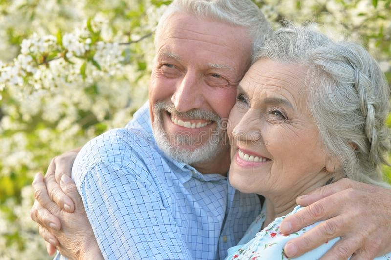 拥抱在开花的庭院里的夫妇 库存照片