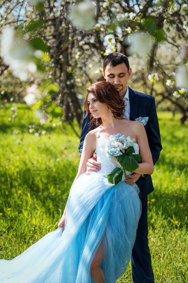 拥抱在开花的春天庭院里的年轻夫妇 爱和浪漫题材 免版税图库摄影