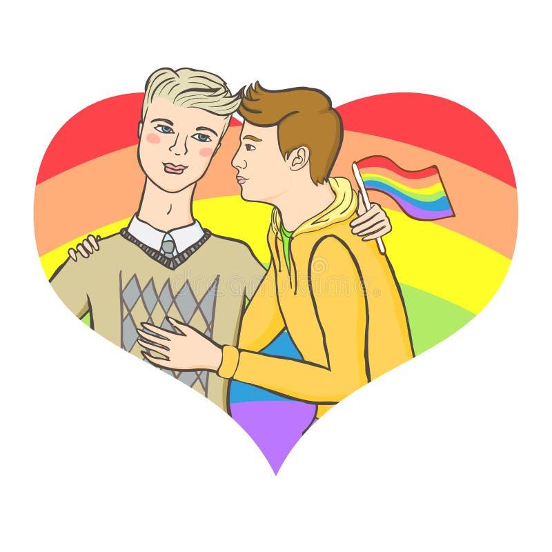 拥抱在掠过的彩虹心脏背景的两个同性恋者 向量例证