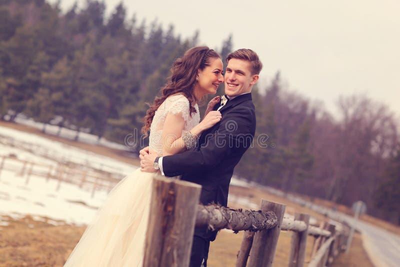 拥抱在森林附近的新娘和新郎 免版税图库摄影